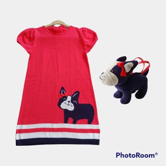 Gymboree Bundle knitted Cotton Sweater Dress & Purse EUC size 4T Poppy Red.